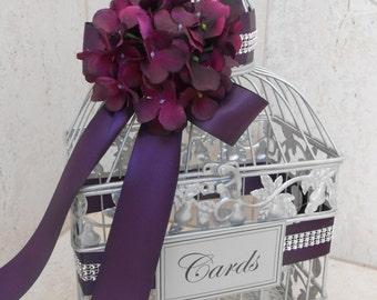 Small Silver Wedding Birdcage Card Box / Wedding Card Holder / Silver Birdcage / Purple Wedding / Wedding Decor / Cardbox