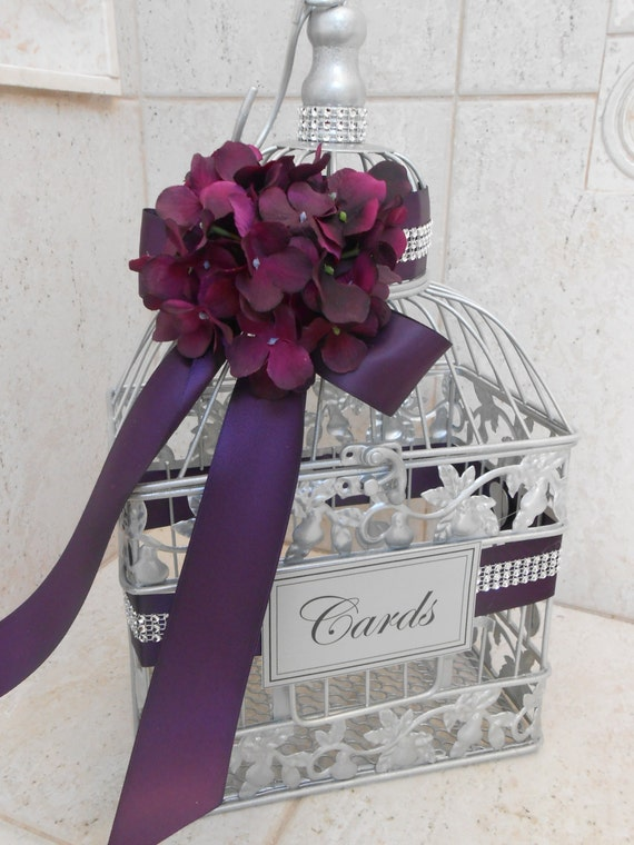 Silver Wedding Gift Card Holder : Small Silver Wedding Birdcage Card Box / Wedding Card Holder / Silver ...