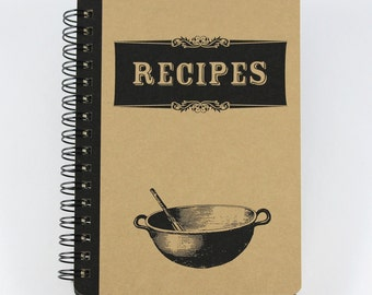 """Spiral Journal """"Recipes"""", Small Recipes Notebook"""