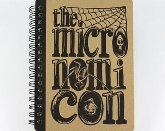 """Pocket Notebook """"Micronomicon"""", Horror Themed Small Spiral Notebook"""