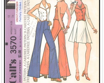 McCALL'S Pattern 3570 - Misses' Double-breasted Halter Neck Vest, Bell-bottom Pants and Pleated Skirt - Sz 12 B34 - Uncut/FF - Vtg 1970s
