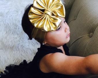 Baby Girl gold big bow Girl Headbands.