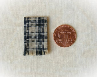 Miniature woven kitchen towel - oatmeal and black plaid, 1:12 scale