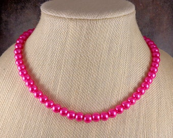 Pearl Necklace, Pink, Glass Pearl Necklace, Round Pearl Necklace, Pearl Strand Necklace, Pink Bead Necklace, Beaded Necklace