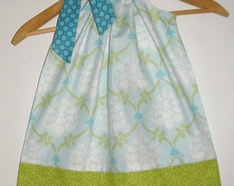 Blue pastel green  damask  size  2T  READY to ship  pillowcase dress(app. 18 inches )