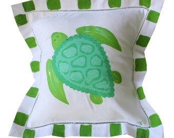 Green and Turquoise Sea Turtle Beach Pillow