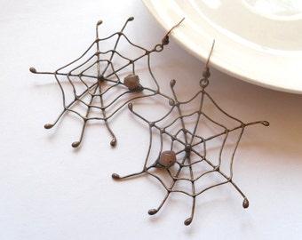 Wire jewelry, contemporary jewelry, statement earrings, best friend gift, copper wire earrings,  funky earrings, Spider web