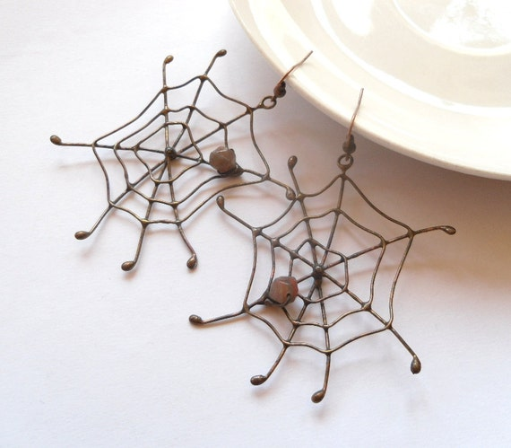 Wire earrings, contemporary jewelry, statement earrings, birthday gift, copper wire metalwork,  funky earrings, Spider web