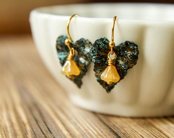 Black and Blue Patina Ivy Leaf & Czech Bellflower Earrings in Caramel