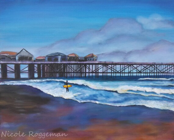 Studio Clearance SALE, Surf board art, Art Sale, beach art, California, seascape, pacific ocean, pier, beach decor, yellow surfoard
