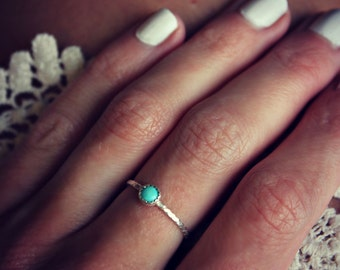 Turquoise ring, Sterling silver ring, stacking ring, rope ring, midi ring, stackable ring