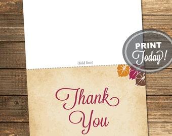 Thank You Card, Bridal Shower, Wine, Merlot, Orange, Brown, Fall, Autumn, Leaves, Rustic, Printable File (Custom order, INSTANT DOWNLOAD)