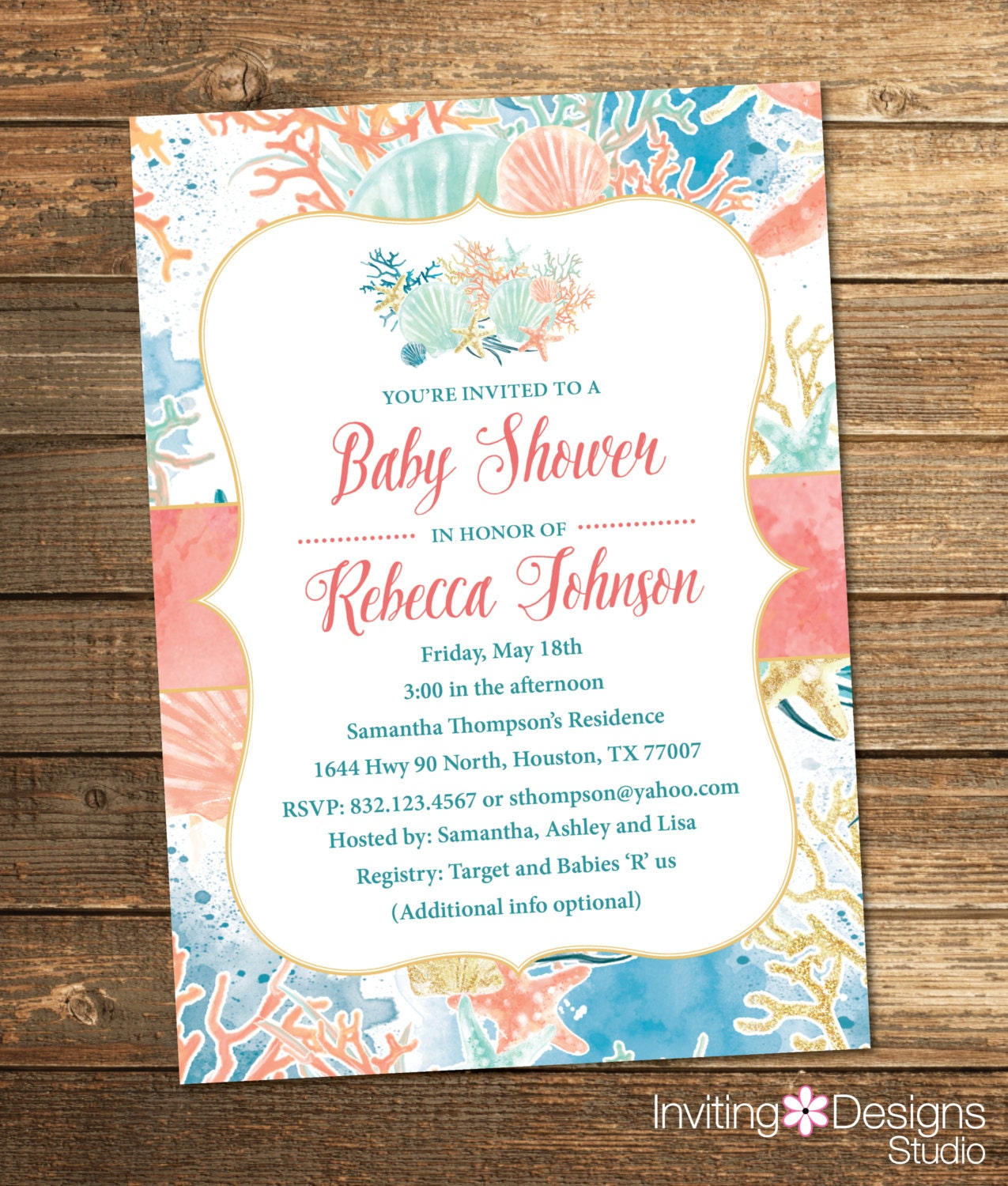 beach baby shower invitation nautical sea by invitingdesignstudio