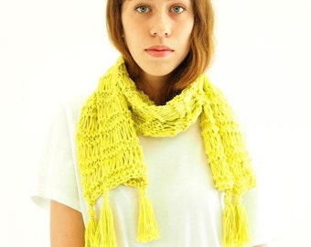 Scarf knitting kit- learn how to knit - easy beginner's knitting kit with video - soft cotton - 5 colors - Smoothie Scarf