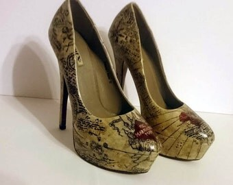 Marauders map high heel shoes ladies - Hand painted Size UK 4 / US 6.5 - One of a kind
