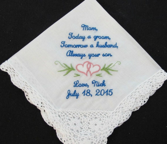 Embroidered Mother of the Groom Wedding Handkerchief