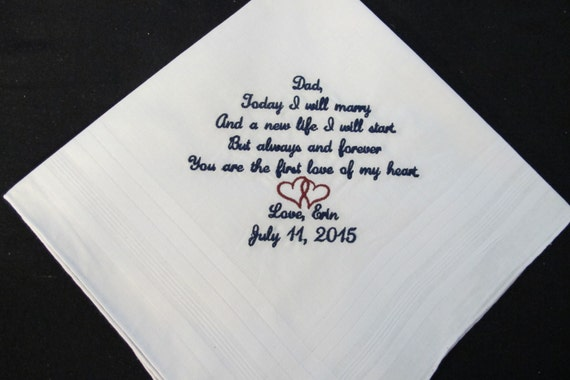 Wedding handkerchief Embroidered Father of the Bride
