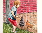 "Feeding the Chickens- Original Watercolor Painting- Small 5"" x 7""- Fine Art"