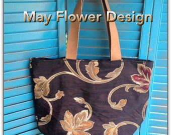 Handmade Black and gold embroidered handbag / Black Tote Bag