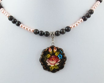 Hand Painted Rose Forget-Me-Not Pendant Necklace