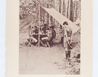Vintage 1974 Norman Rockwell Boy Scouts We Thank Thee O Lord Sepia Print