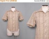 SALE 1970s Retro Shirt / Vintage 70s Brown Button Down Top / Large