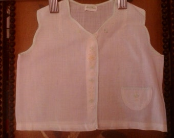 50s white cotton Asian embroidered baby vest