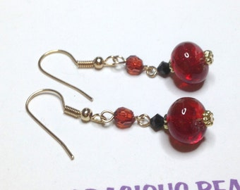 "Handmade 2"" SCARLET Black Gold  Art Glass EARRINGS Golden Accents Beads Wires"