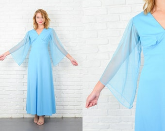 Vintage 70s Blue Angel Sleeve Dress Hippie Boho Maxi Medium M  5200