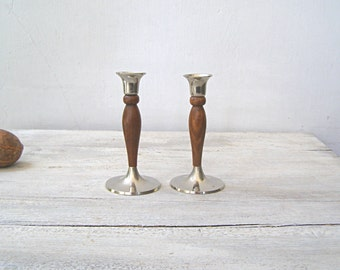 Silver Brown Wood Candlestick Holders, Art Deco Vintage Mid Century Newlywed Wedding Gift Decor, Silver Plated Candle Holders Tableware