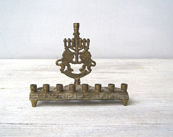 Vintage 70s JERUSALEM Solid Brass Hanukkah Menorah, Israel National Symbol Bronze Hanukkah Candelabra, Judaica Collectible Jewish Decor