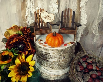Adirondack chair fall pumpkin wedding cake topper fall decorations bride groom Autumn Mr and Mrs Just married sign country fall rustic barn