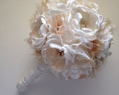 Fabric Bouquet - Ivory and Gold - Large Size - White and Gold - Fabric Flowers, Cream, Off White, Gold Wedding, Gold Bouquet, Heirloom