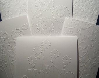 Set of Six Embossed Fun Flower Notecards