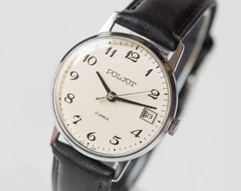 Elegant gent's watch Poljot, black white men's watch, dress watch him, round classic timepiece, minimalist watch, premium leather strap new