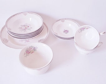 Shabby Chic Pastel Floral and Gold Collection of Plates Dishes Bowls and Cups Mix Match Your Vintage China Unique Style