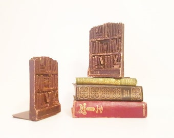 Vintage Bookend Set  Small Library Bookends Book Collection Organizer Old Books Home Organizer Library Study Decor Metal Book Wood Bookends