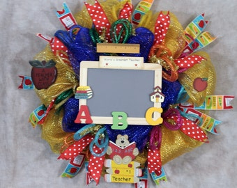 Teachers Wreath, Teachers Classroom Door Wreath, School Classroom Wall Wreath, Classroom Decor, Handmade, SouthernCharmWreaths. Deco Mesh