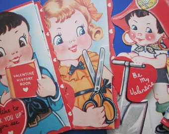 Four Vintage 1950s or 1940s Valentines Cards