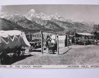 Two Vintage Jackson Hole Wyoming Chuck Wagon Scenes Glossy Photo Post Cards