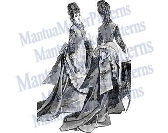 Victorian Dress Engraving w/ Draped Bustle, Instant Digital Download, JPG & PNG, 1875 #4