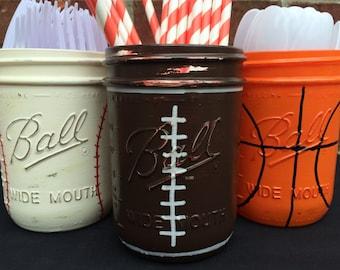 Hand Painted Sports Theme Birthday Decor Baseball Basketball Football Birthday Decor Sports