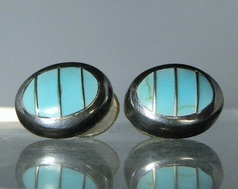 Vintage Earrings Sterling Silver Natural Blue Turquoise Stud Post Style Earrings Gift Quality Jewelry Made in Mexico DanPickedMinerals
