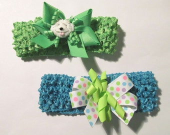 Reborn Head Bands ~ Set of Two Pretty Stretch Head Bands~ Puppy and Pok-a-dots ~