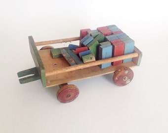 Vintage wooden toy WAGON with bricks. COUNTING toy, Primitive Decor