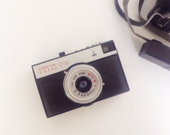 Vintage SMENA 8M camera with leather case. LOMO camera