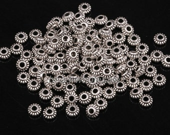 Wholesale 100pcs 6mm Silver Tone Metal Spacer Beads