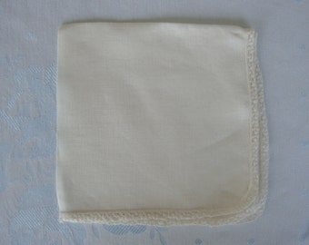 White linen hanky hankie handkerchief hand crocheted and tatting tatted edging