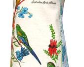 Metro Retro 'Australian Birds & Flowers' Vintage Tea Towel Apron : OOAK . - Birthday Christmas Gift Idea . Handmade in Australia