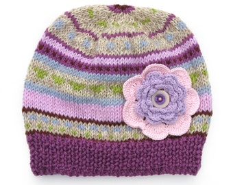 Girls HANDMADE Pink Purple Lilac Knitted Stripe Wool Beanie Hat with Big Flower & Buttons . Gift Idea . Size - Age: 6 7 8 9 10 11 12 13.